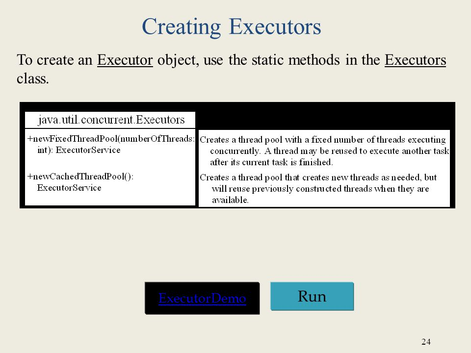 24 Creating Executors To create an Executor object, use the static methods in the Executors class.