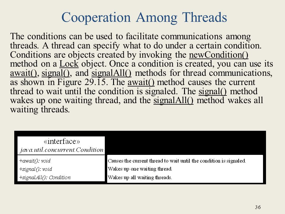 36 Cooperation Among Threads The conditions can be used to facilitate communications among threads.