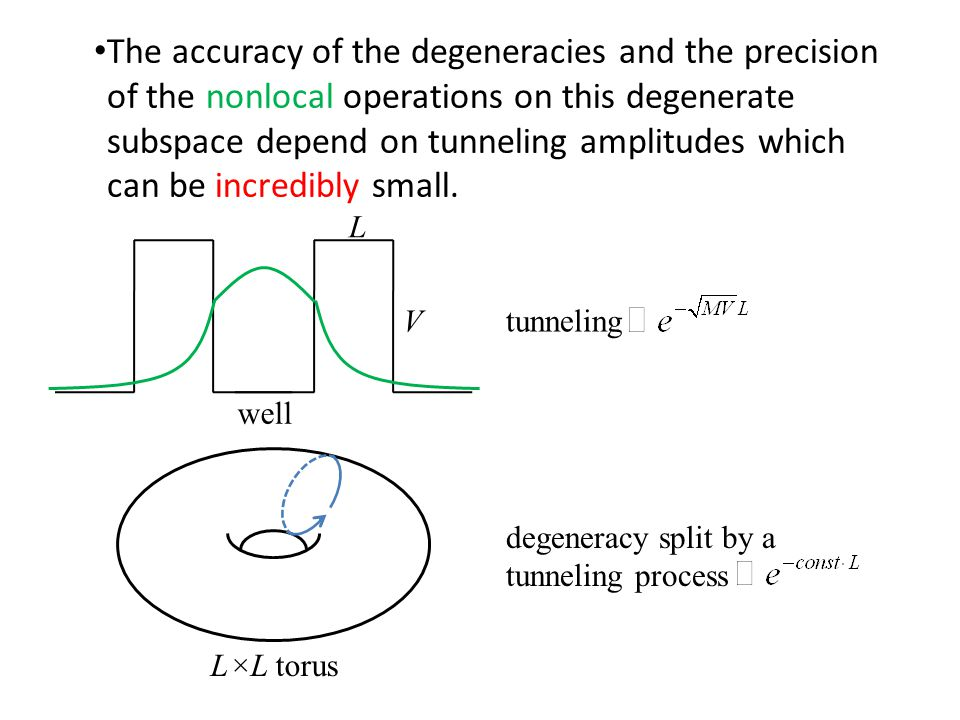 The accuracy of the degeneracies and the precision of the nonlocal operations on this degenerate subspace depend on tunneling amplitudes which can be incredibly small.