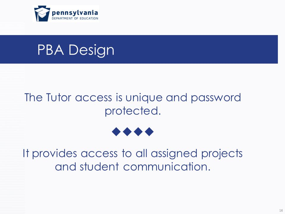 PBA Design The Tutor access is unique and password protected.