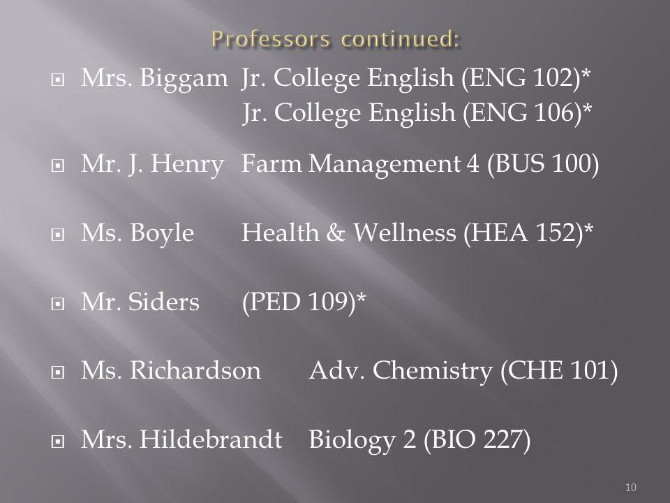  Mrs. BiggamJr. College English (ENG 102)* Jr. College English (ENG 106)*  Mr.