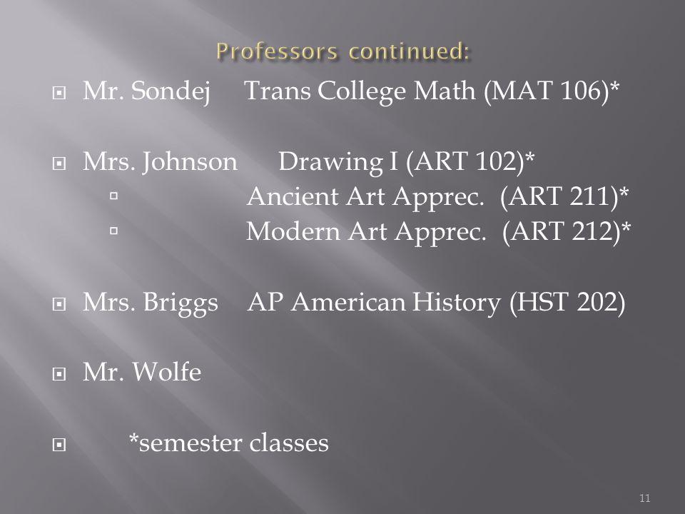  Mr. Sondej Trans College Math (MAT 106)*  Mrs.