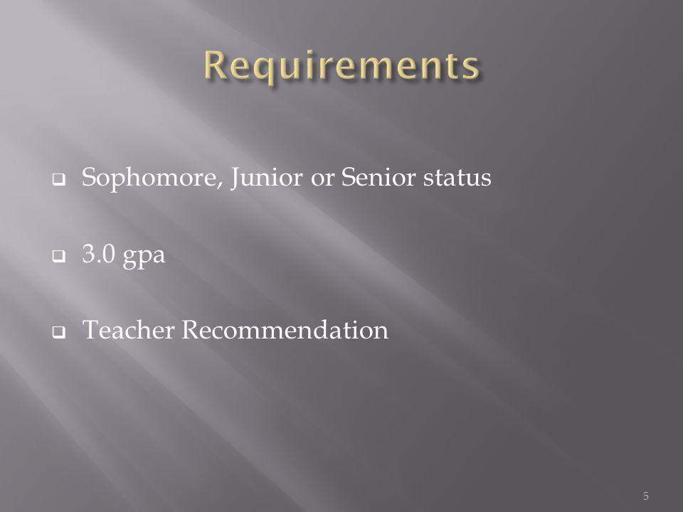 Sophomore, Junior or Senior status  3.0 gpa  Teacher Recommendation 5