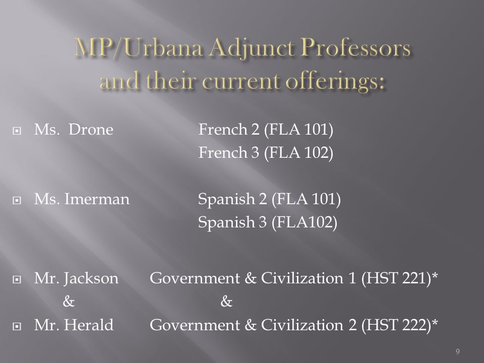 Ms. Drone French 2 (FLA 101) French 3 (FLA 102)  Ms. Imerman Spanish 2 (FLA 101) Spanish 3 (FLA102)  Mr. JacksonGovernment & Civilization 1 (HST 2