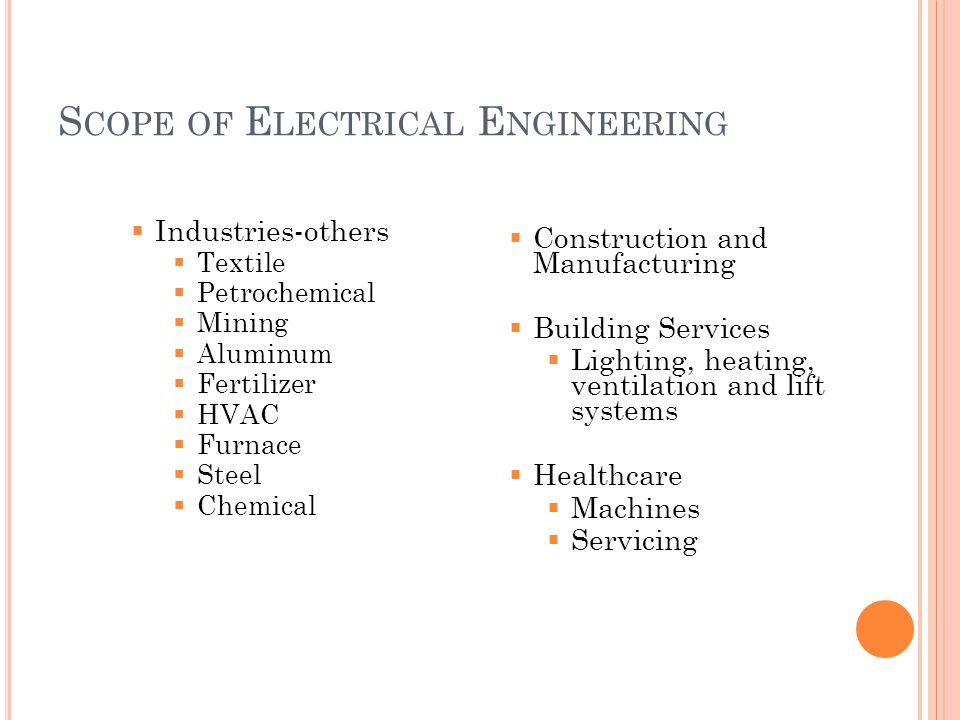 S COPE OF E LECTRICAL E NGINEERING  Industries-others  Textile  Petrochemical  Mining  Aluminum  Fertilizer  HVAC  Furnace  Steel  Chemical  Construction and Manufacturing  Building Services  Lighting, heating, ventilation and lift systems  Healthcare  Machines  Servicing