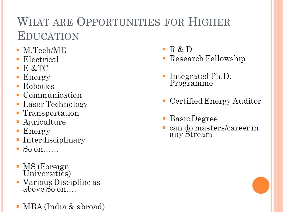 W HAT ARE O PPORTUNITIES FOR H IGHER E DUCATION  M.Tech/ME  Electrical  E &TC  Energy  Robotics  Communication  Laser Technology  Transportation  Agriculture  Energy  Interdisciplinary  So on……  MS (Foreign Universities)  Various Discipline as above So on….