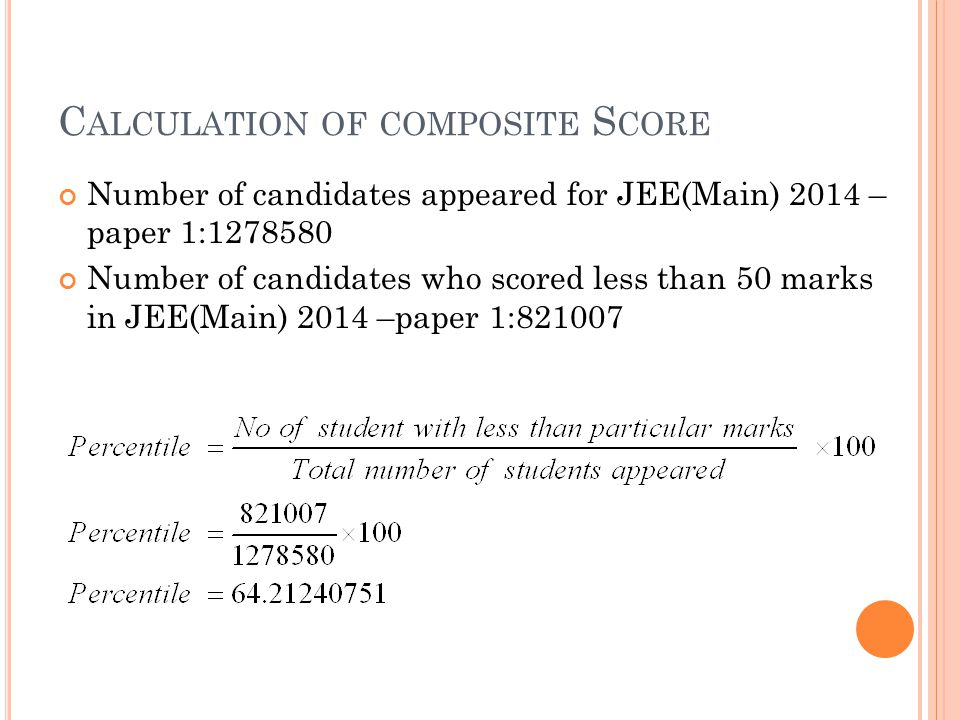 C ALCULATION OF COMPOSITE S CORE Number of candidates appeared for JEE(Main) 2014 – paper 1:1278580 Number of candidates who scored less than 50 marks in JEE(Main) 2014 –paper 1:821007