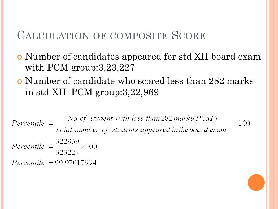 C ALCULATION OF COMPOSITE S CORE Number of candidates appeared for std XII board exam with PCM group:3,23,227 Number of candidate who scored less than 282 marks in std XII PCM group:3,22,969