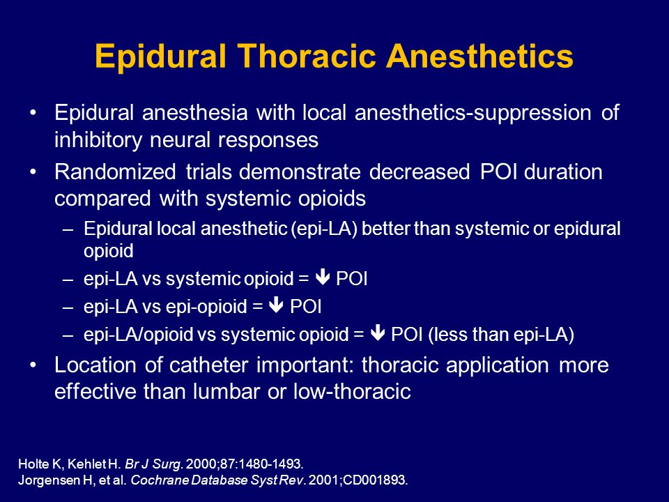 Epidural anesthesia with local anesthetics-suppression of inhibitory neural responses Randomized trials demonstrate decreased POI duration compared with systemic opioids –Epidural local anesthetic (epi-LA) better than systemic or epidural opioid –epi-LA vs systemic opioid =  POI –epi-LA vs epi-opioid =  POI –epi-LA/opioid vs systemic opioid =  POI (less than epi-LA) Location of catheter important: thoracic application more effective than lumbar or low-thoracic Epidural Thoracic Anesthetics Holte K, Kehlet H.