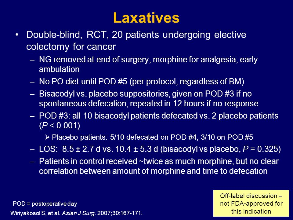 Laxatives Double-blind, RCT, 20 patients undergoing elective colectomy for cancer –NG removed at end of surgery, morphine for analgesia, early ambulation –No PO diet until POD #5 (per protocol, regardless of BM) –Bisacodyl vs.