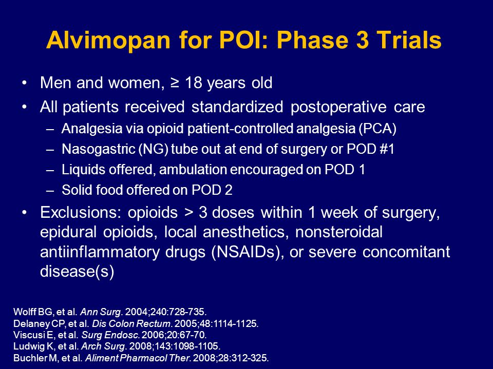 Alvimopan for POI: Phase 3 Trials Men and women, ≥ 18 years old All patients received standardized postoperative care –Analgesia via opioid patient-controlled analgesia (PCA) –Nasogastric (NG) tube out at end of surgery or POD #1 –Liquids offered, ambulation encouraged on POD 1 –Solid food offered on POD 2 Exclusions: opioids > 3 doses within 1 week of surgery, epidural opioids, local anesthetics, nonsteroidal antiinflammatory drugs (NSAIDs), or severe concomitant disease(s) Wolff BG, et al.