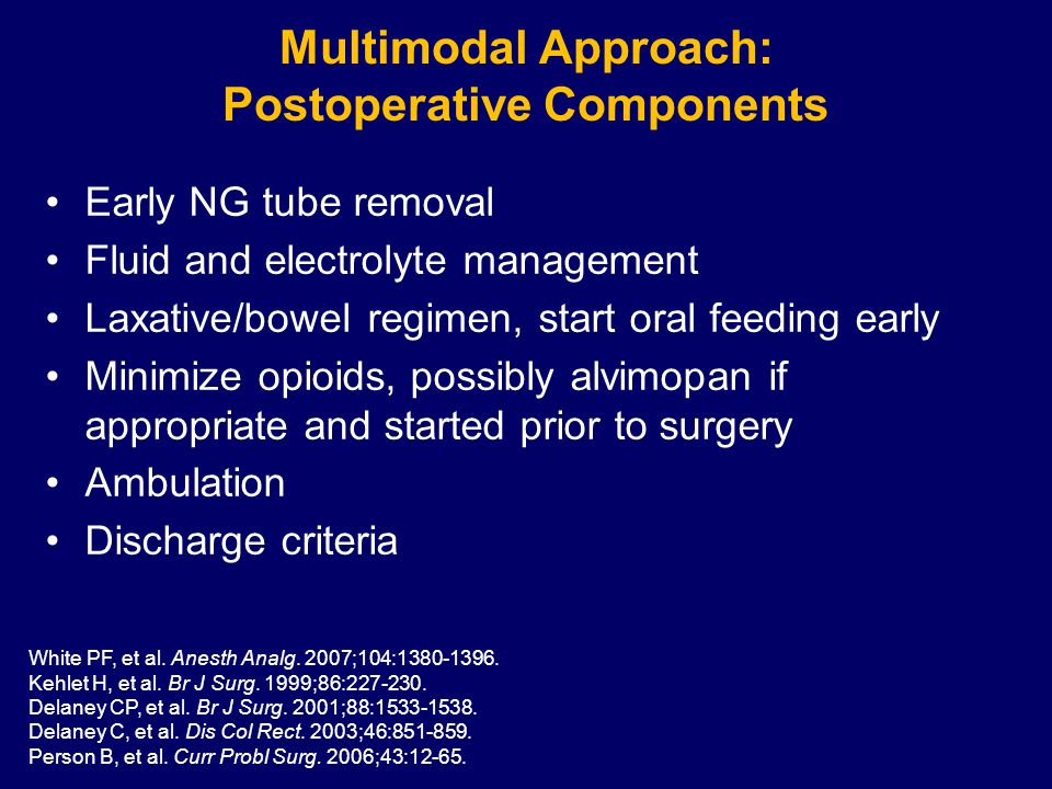 Multimodal Approach: Postoperative Components Early NG tube removal Fluid and electrolyte management Laxative/bowel regimen, start oral feeding early Minimize opioids, possibly alvimopan if appropriate and started prior to surgery Ambulation Discharge criteria White PF, et al.