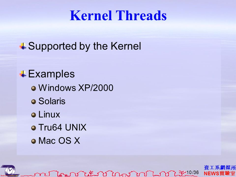 資工系網媒所 NEWS 實驗室 Kernel Threads Supported by the Kernel Examples Windows XP/2000 Solaris Linux Tru64 UNIX Mac OS X /3610