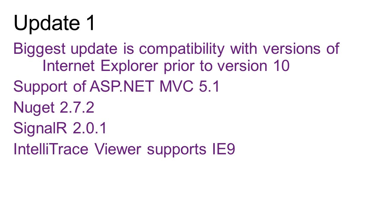 Biggest update is compatibility with versions of Internet Explorer prior to version 10 Support of ASP.NET MVC 5.1 Nuget 2.7.2 SignalR 2.0.1 IntelliTra