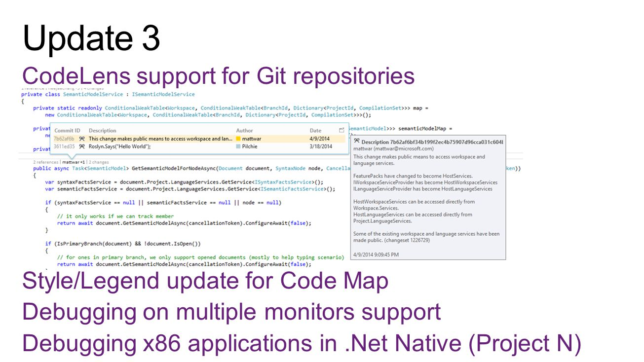 CodeLens support for Git repositories Style/Legend update for Code Map Debugging on multiple monitors support Debugging x86 applications in.Net Native