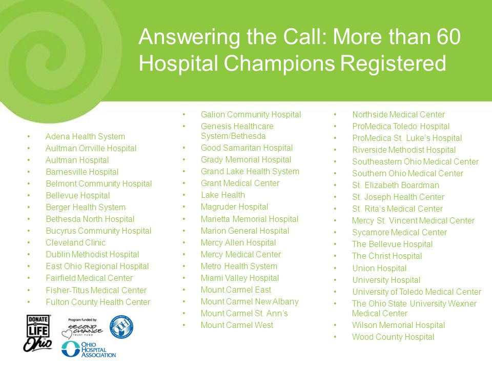 Answering the Call: More than 60 Hospital Champions Registered Galion Community Hospital Genesis Healthcare System/Bethesda Good Samaritan Hospital Gr