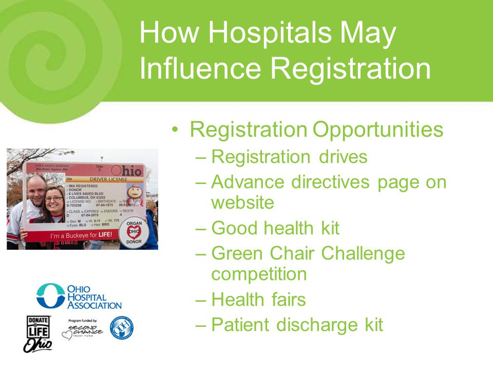 How Hospitals May Influence Registration Registration Opportunities –Registration drives –Advance directives page on website –Good health kit –Green Chair Challenge competition –Health fairs –Patient discharge kit