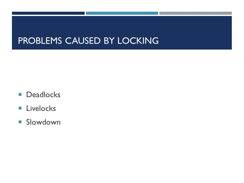 PROBLEMS CAUSED BY LOCKING  Deadlocks  Livelocks  Slowdown