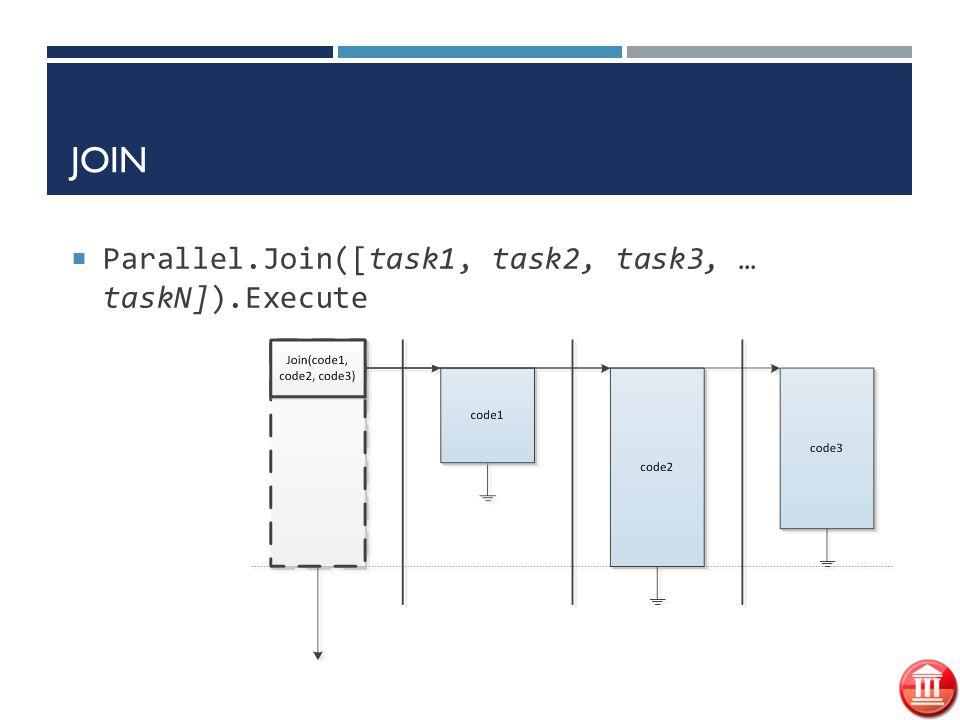 JOIN  Parallel.Join([task1, task2, task3, … taskN]).Execute