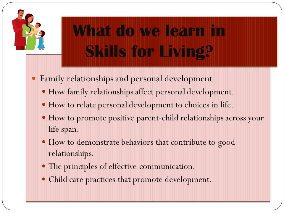 What do we learn in Skills for Living? Family relationships and personal development How family relationships affect personal development. How to rela