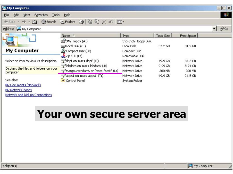 Your own secure server area