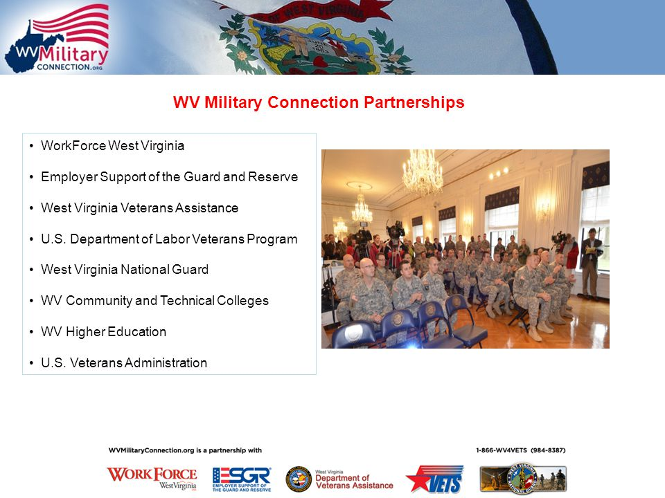 WV Military Connection Partnerships WorkForce West Virginia Employer Support of the Guard and Reserve West Virginia Veterans Assistance U.S.