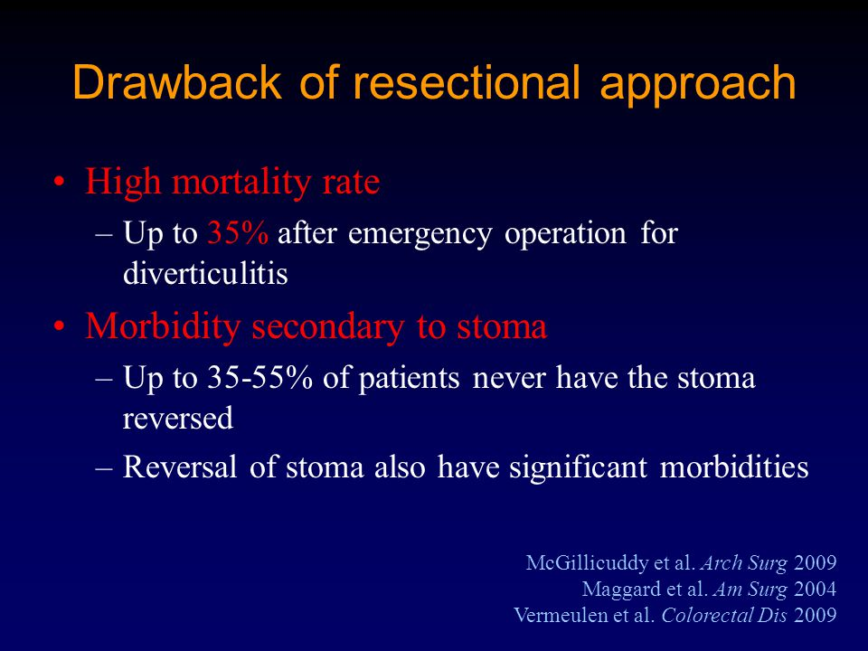 Drawback of resectional approach McGillicuddy et al.