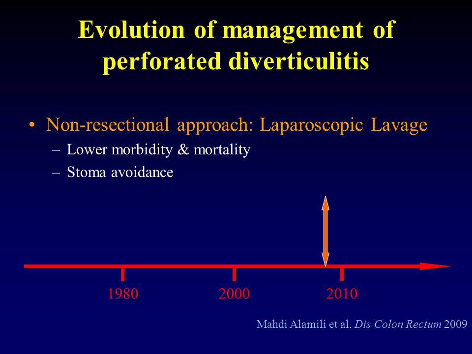 Evolution of management of perforated diverticulitis Non-resectional approach: Laparoscopic Lavage –Lower morbidity & mortality –Stoma avoidance Mahdi