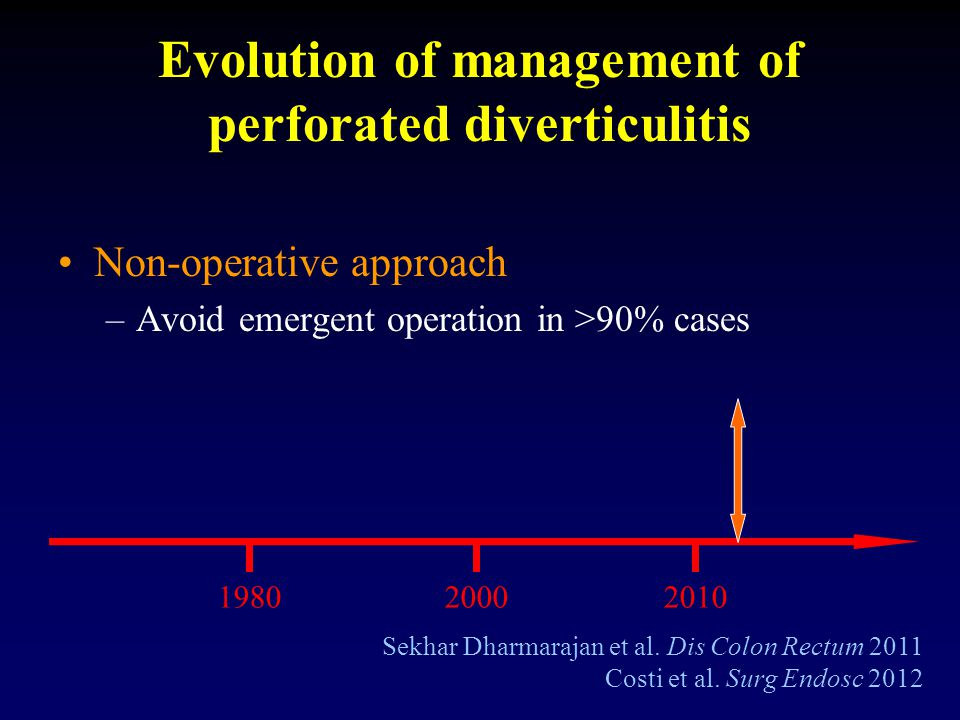 Evolution of management of perforated diverticulitis Non-operative approach –Avoid emergent operation in >90% cases Sekhar Dharmarajan et al. Dis Colo