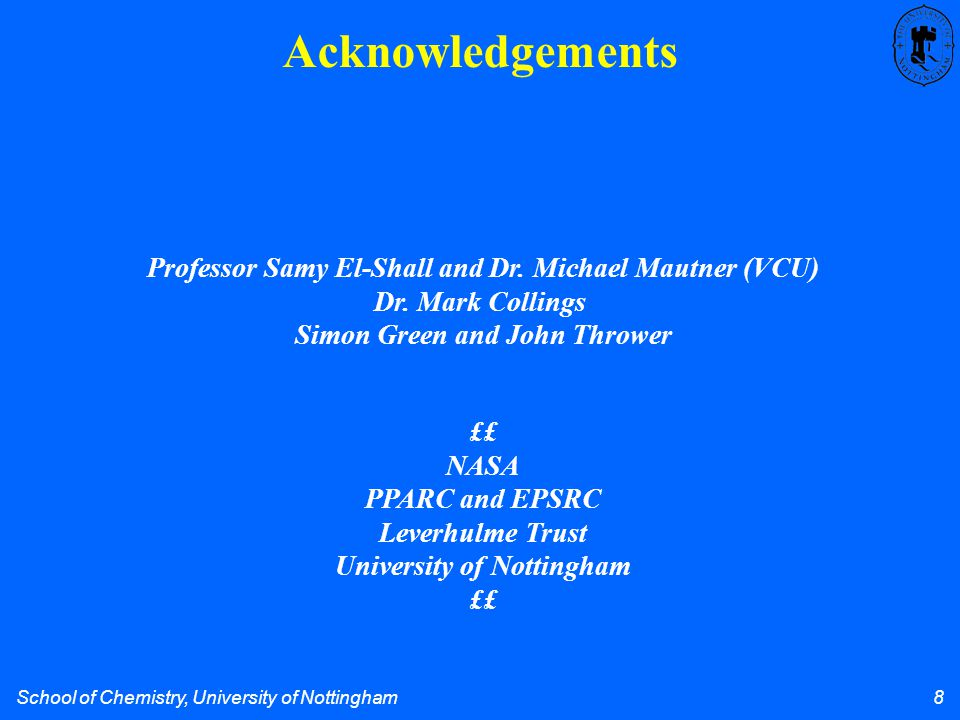 School of Chemistry, University of Nottingham 8 Acknowledgements Professor Samy El-Shall and Dr.