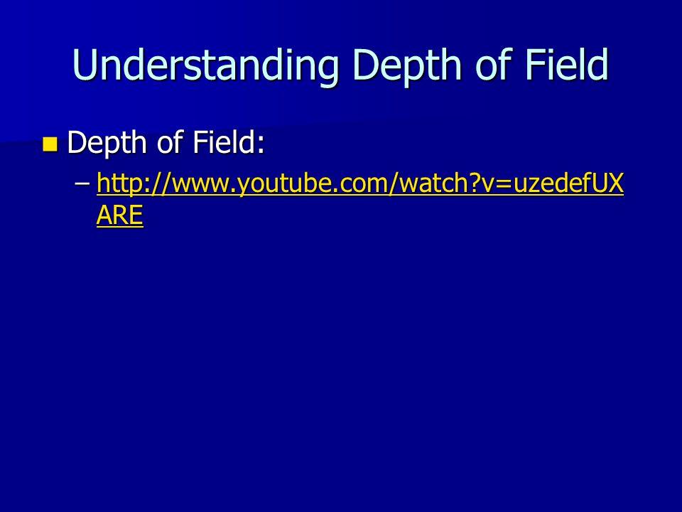 Understanding Depth of Field Depth of Field: Depth of Field: –http://www.youtube.com/watch?v=uzedefUX ARE http://www.youtube.com/watch?v=uzedefUX AREhttp://www.youtube.com/watch?v=uzedefUX ARE