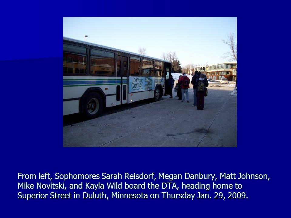 From left, Sophomores Sarah Reisdorf, Megan Danbury, Matt Johnson, Mike Novitski, and Kayla Wild board the DTA, heading home to Superior Street in Duluth, Minnesota on Thursday Jan.