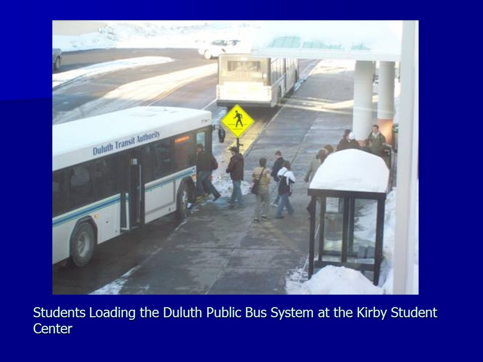 Students Loading the Duluth Public Bus System at the Kirby Student Center