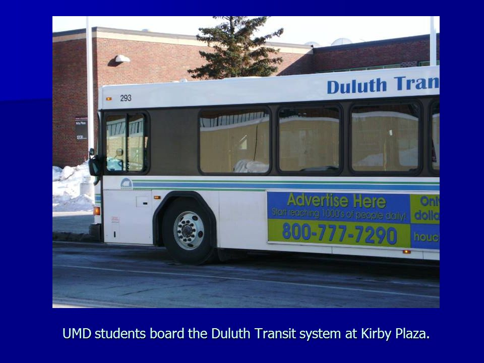 UMD students board the Duluth Transit system at Kirby Plaza.