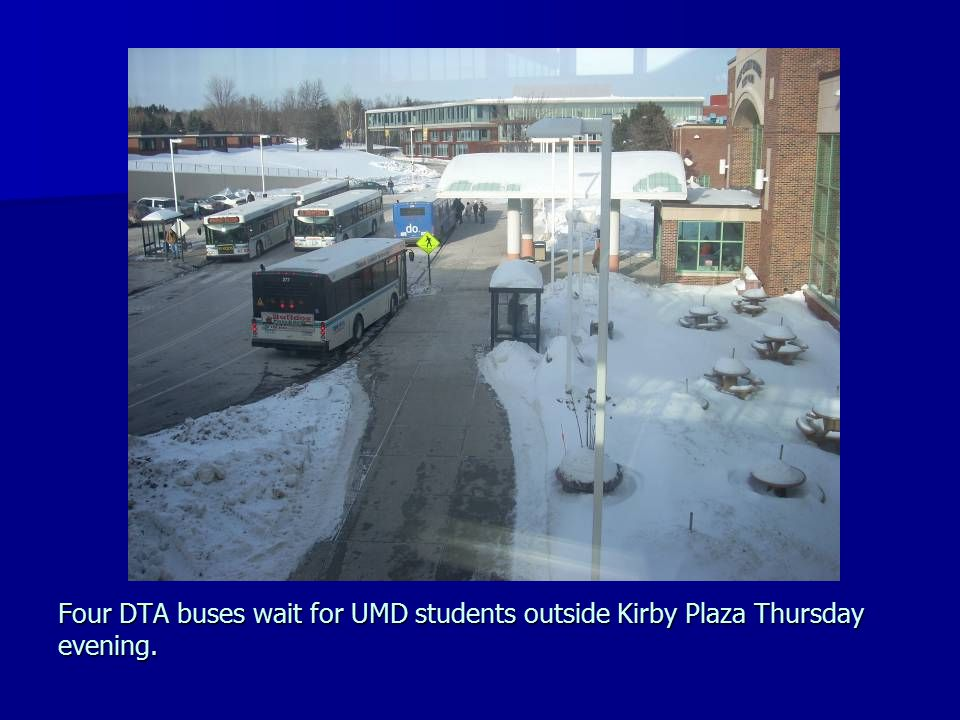 Four DTA buses wait for UMD students outside Kirby Plaza Thursday evening.