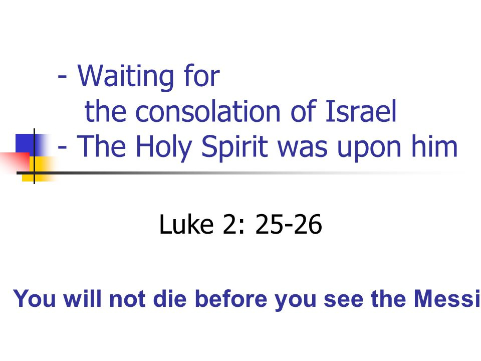 The Holy Spirit arranges important meetings Luke 2: 27-28 The Lord you are seeking will come to his temple Malachi 3: 1