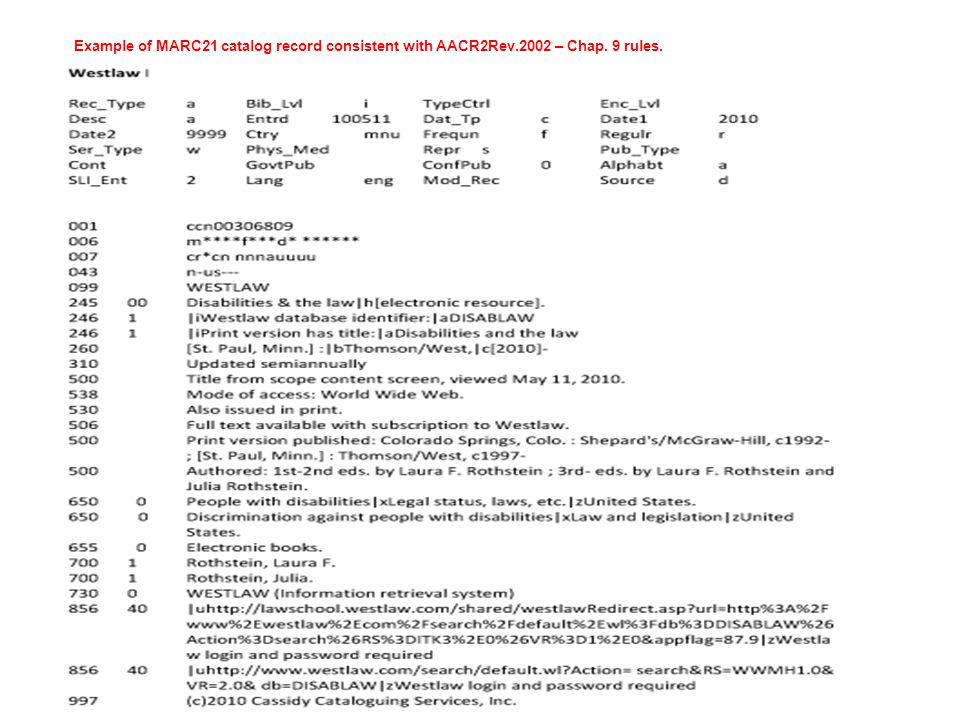 Example of MARC21 catalog record consistent with AACR2Rev.2002 – Chap. 9 rules.