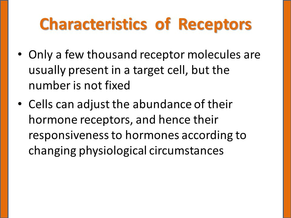 Characteristics of Receptors Only a few thousand receptor molecules are usually present in a target cell, but the number is not fixed Cells can adjust the abundance of their hormone receptors, and hence their responsiveness to hormones according to changing physiological circumstances