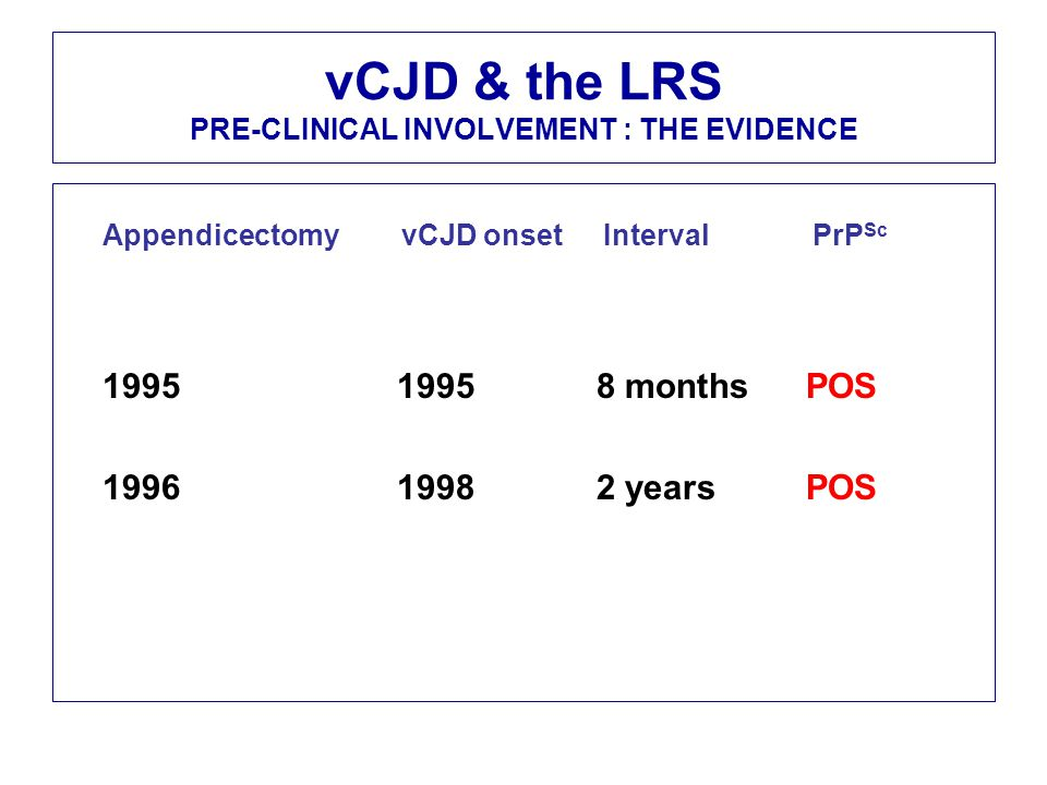vCJD & the LRS PRE-CLINICAL INVOLVEMENT : THE EVIDENCE Appendicectomy vCJD onset Interval PrP Sc 1995 1995 8 months POS 1996 1998 2 years POS