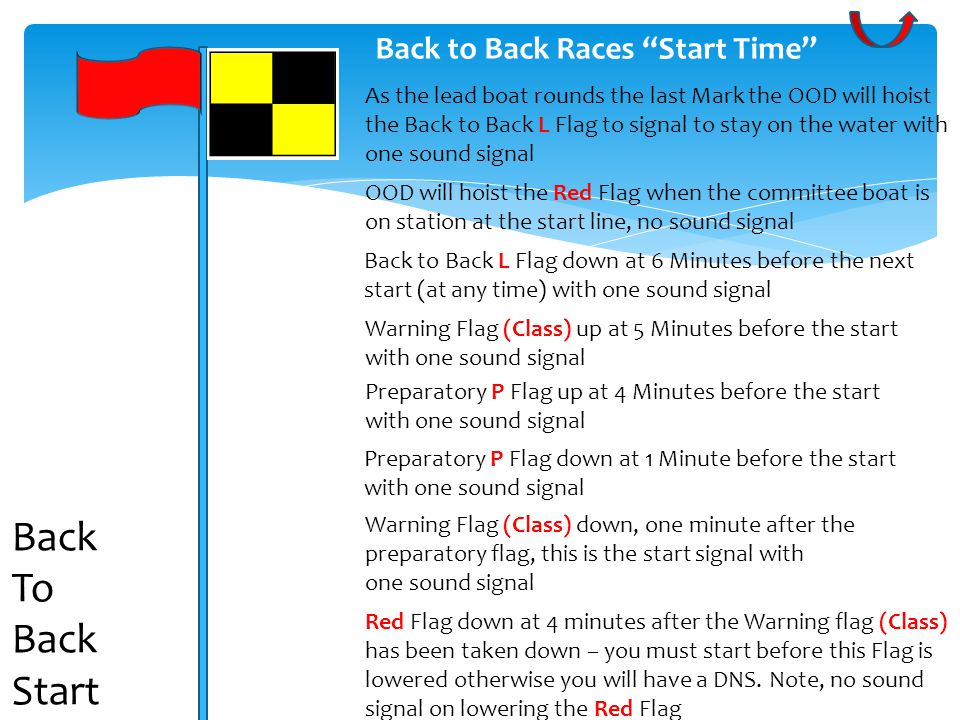 Back to Back Races Start Time Warning Flag (Class) up at 5 Minutes before the start with one sound signal OOD will hoist the Red Flag when the committee boat is on station at the start line, no sound signal Preparatory P Flag up at 4 Minutes before the start with one sound signal Preparatory P Flag down at 1 Minute before the start with one sound signal Warning Flag (Class) down, one minute after the preparatory flag, this is the start signal with one sound signal Red Flag down at 4 minutes after the Warning flag (Class) has been taken down – you must start before this Flag is lowered otherwise you will have a DNS.