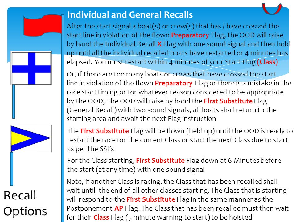 Individual and General Recalls After the start signal a boat(s) or crew(s) that has / have crossed the start line in violation of the flown Preparatory Flag, the OOD will raise by hand the Individual Recall X Flag with one sound signal and then hold up until all the individual recalled boats have restarted or 4 minutes has elapsed.