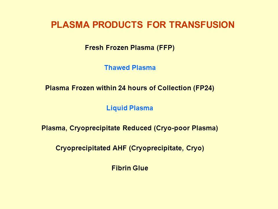 Fresh Frozen Plasma (FFP) Thawed Plasma Plasma Frozen within 24 hours of Collection (FP24) Liquid Plasma Plasma, Cryoprecipitate Reduced (Cryo-poor Plasma) Cryoprecipitated AHF (Cryoprecipitate, Cryo) Fibrin Glue PLASMA PRODUCTS FOR TRANSFUSION