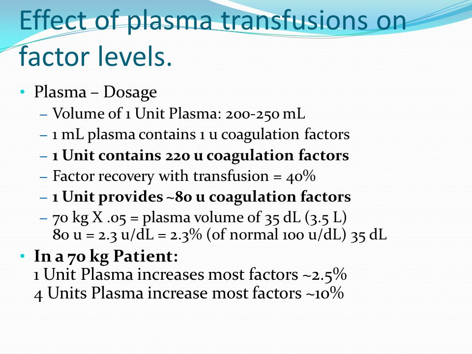 Effect of plasma transfusions on factor levels.