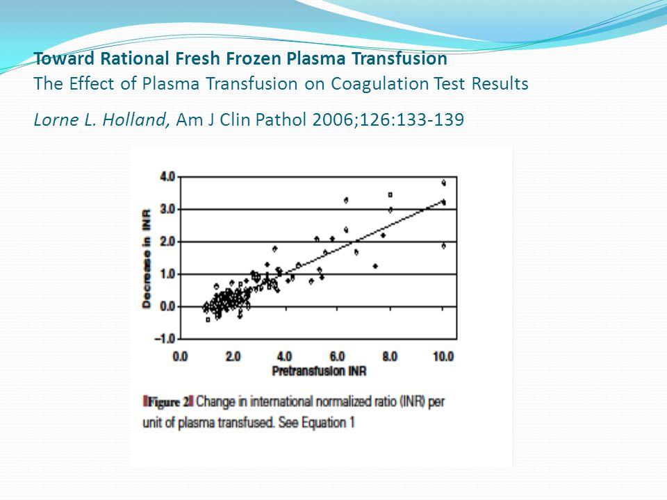 Toward Rational Fresh Frozen Plasma Transfusion The Effect of Plasma Transfusion on Coagulation Test Results Lorne L.