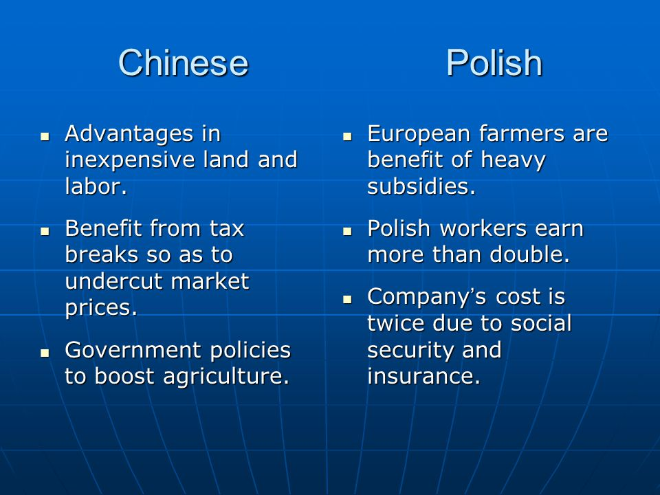 Chinese Polish Advantages in inexpensive land and labor.