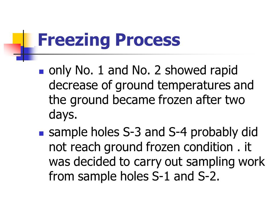 Freezing Process only No. 1 and No. 2 showed rapid decrease of ground temperatures and the ground became frozen after two days. sample holes S-3 and S