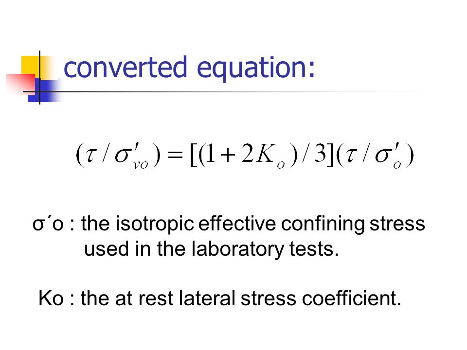 converted equation: σ´o : the isotropic effective confining stress used in the laboratory tests. Ko : the at rest lateral stress coefficient.