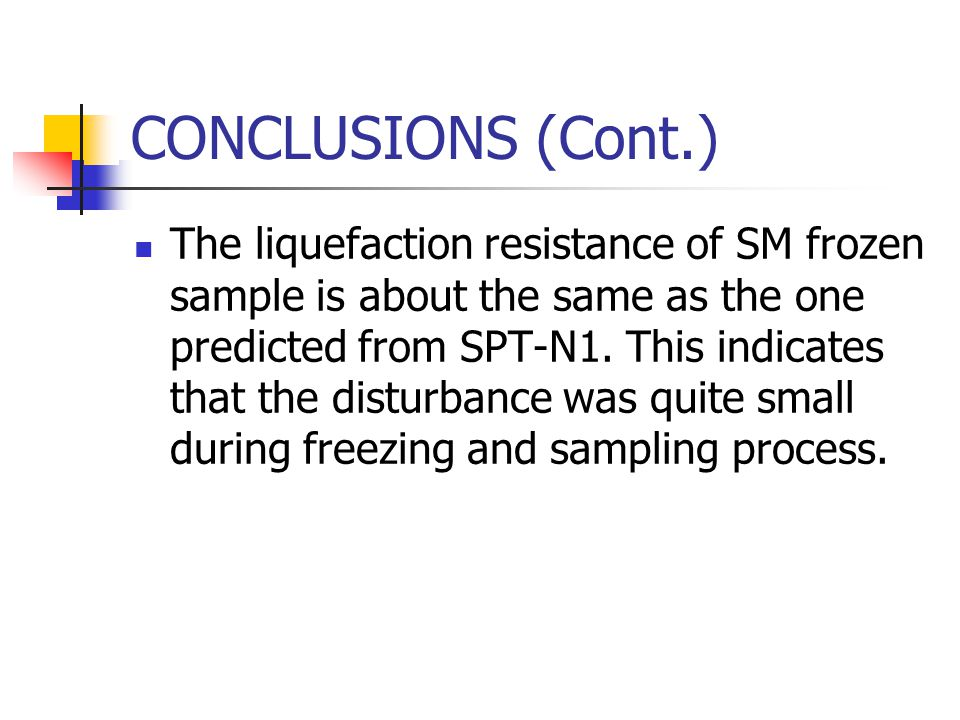 CONCLUSIONS (Cont.) The liquefaction resistance of SM frozen sample is about the same as the one predicted from SPT-N1. This indicates that the distur