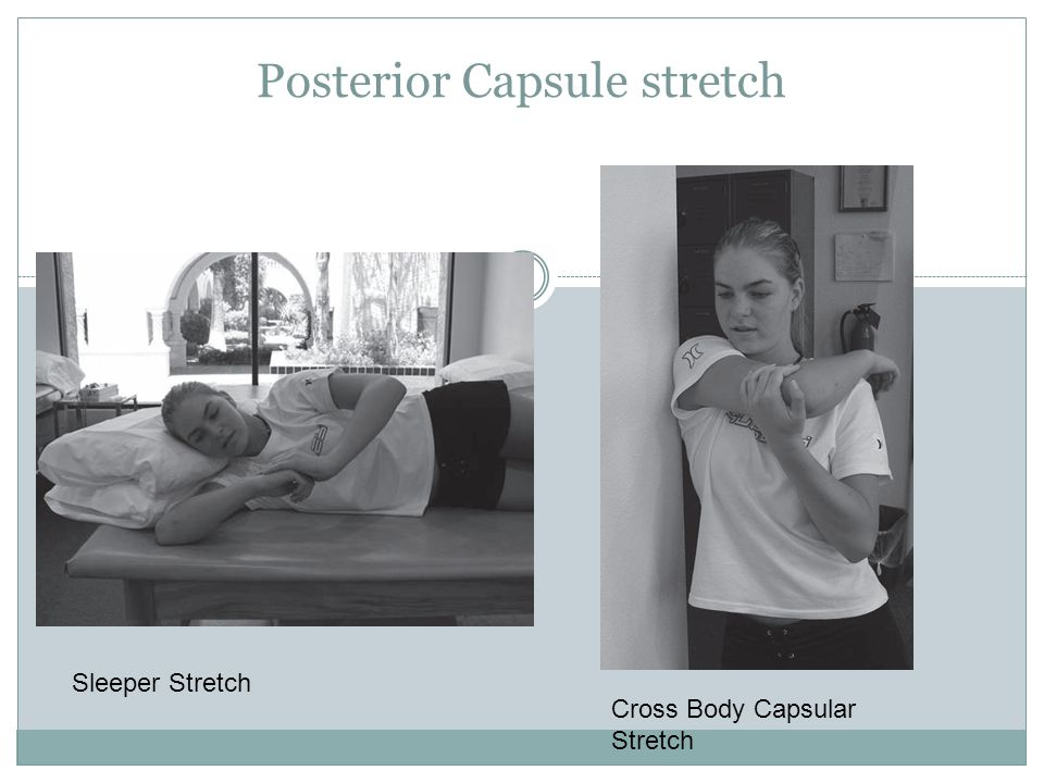 Posterior Capsule stretch Sleeper Stretch Cross Body Capsular Stretch