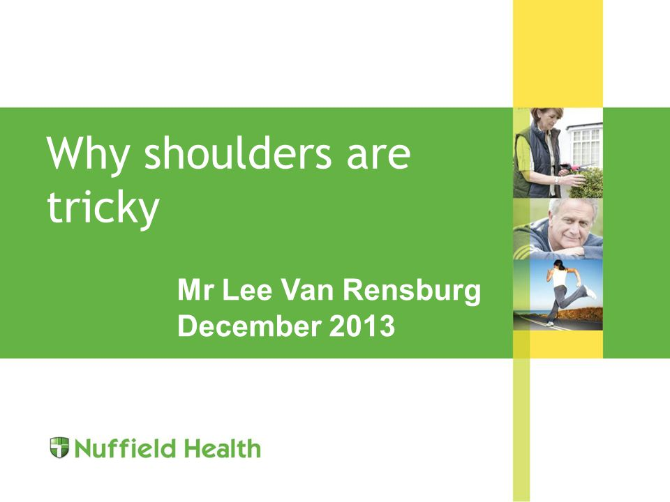 Why shoulders are tricky Mr Lee Van Rensburg December 2013